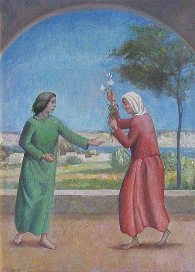 Maria ed Elisabetta, opera del pittore Franco Resecco