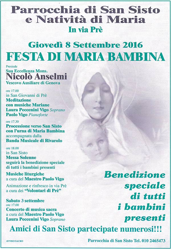 Festa 8 settembre Maria Bambina chiesa San Sisto Genova