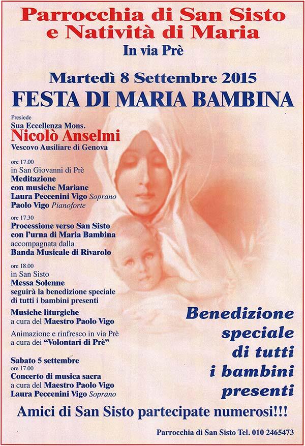 Festa Maria Bambina chiesa San Sisto Genova 2015